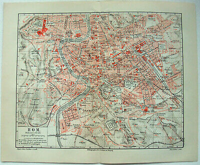 Original 1909 City Map of Rome, Italy by Meyers. Antique