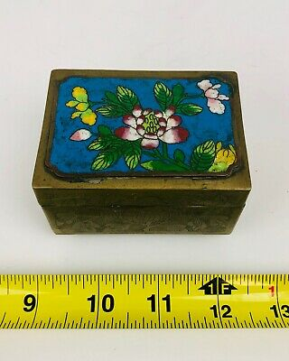 Antique Chinese Footed Brass Enamel Cloisonne Box