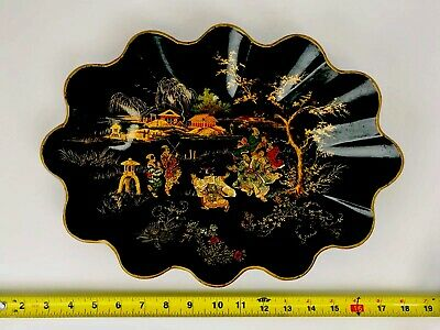 Antique Scalloped Papier Mache Lacquer Tray Bowl Chinese Chinoiserie Black Gilt
