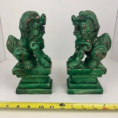 Pair Chinese Antique Green Terra cotta Pottery Guardian Foo Dogs / Lions Roof