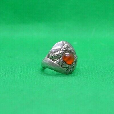 Roman Medieval Decorated Silver Ring With Carnelian Stone - 1200 Ad - Rare