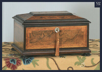 Antique German Marquetry Inlaid Burr Walnut, Ebony & Satinwood Jewellery Box