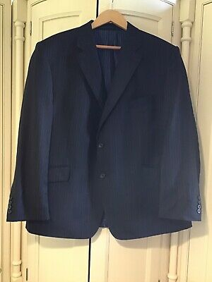 Marks And Spencer Luxury Collection 3 Piece Navy Suit Xl Excellent New Pure Wool