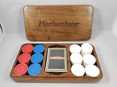 Vintage BUDWEISER Gemaco Poker Set/New Cards & Chips with wood box