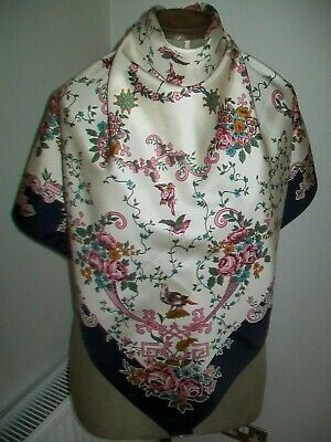 Past Times. Delicate & Romantic Roses Birds Ribbons Etc. Vintage Silk Scarf