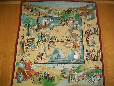 The Story Of Silk. Gorgeous Hand Painted Silk Route Design Vintage Silk Scarf