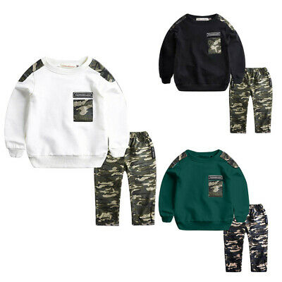 2PCS  Teen Kids Baby Boys Letter Tracksuit Camouflage Tops Pants Outfits Sets