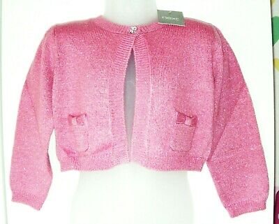 Bnwt Girls Next Pink Crop Cardigan 2-3 Yrs New Christmas Party Jumper Top Coat