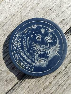 Blue Antique Clay Poker Chip Snarling TIGER Circa 1899 Vintage Old Gambling Game