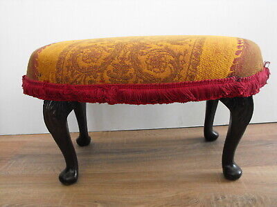 Vintage FOOT STOOL with Mahogany Cabriolt Legs in Burgundy & Gold Fabric