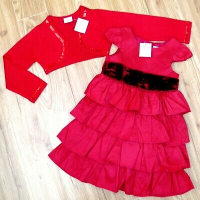 Bnwt Girls Next Red Christmas Party Dress & Crop Cardigan 3-4 Yrs New Top Coat