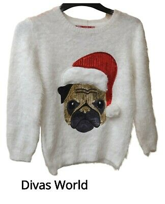 Christmas Kids Jumper Soft Sweater White Frenchie Bulldog Santa Sequin Primark