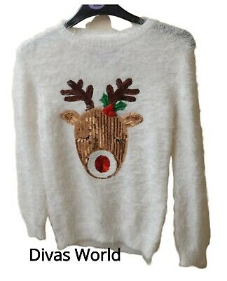 Christmas Rudolph Kids Jumper White Soft Cosy Sweater Top Sequin Xmas Primark