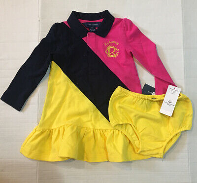NWT Ralph Lauren Baby Girl Pink Multi Crested LS Polo Dress Bloomer set 18M