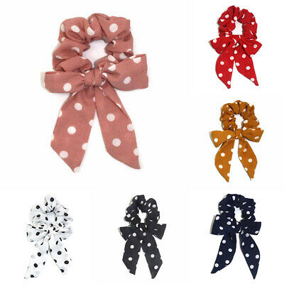 Dot Scrunchies Streamers Elastic Bow Knotted Hair Ring Girl Ponytail Hair Ties B