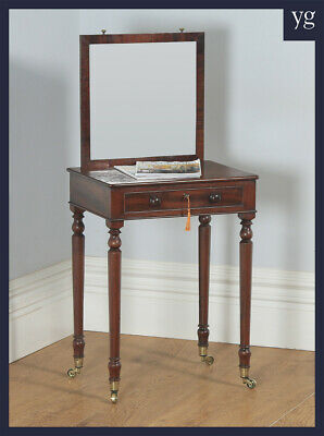 Antique English Georgian Mahogany Dressing Side Table with Adjustable Mirror