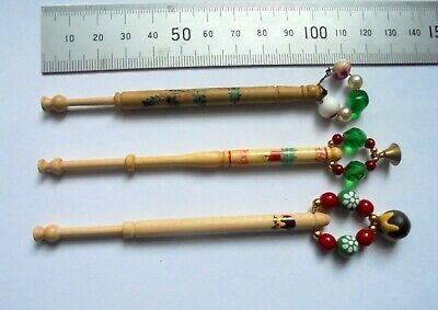 3 Christmas LACE BOBBINS with Spangles