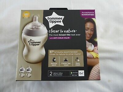 Tommy Tippee 2X Closer To Nature Anti Colic Baby Bottles 260Ml - Slow Flow - New