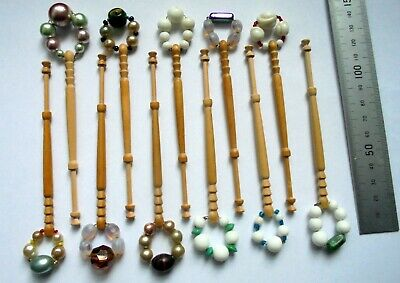 11 Wooden LACE BOBBINS with Spangles