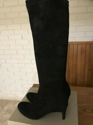 L K Bennett Black Suede High Heel Knee High Boots size 40 or UK 7