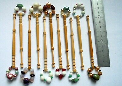 11 Wooden LACE MAKING Bobbins with Spangles