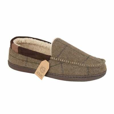 Mens Jo & Joe Slippers Faux Suede Faux Fur Lined Moccasin Shoes Assorted Colours
