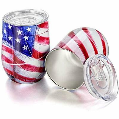 TUTC 12 Oz Stainless Steel Stemless Tumbler With Lid Wine Double Wall Vacuum Cup