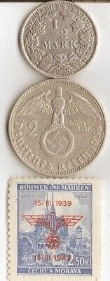 """#-7)-*Two *german SILVER(.900%,.625%)  coins-+WW2 - Stamp + *king """"Tut"""" coin"""