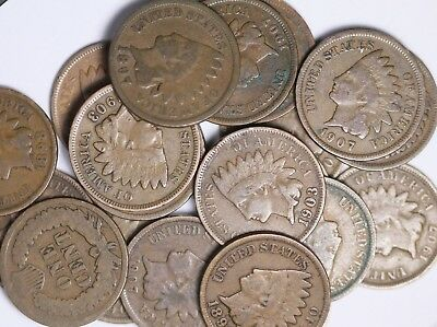 Roll Of 50 Coins Mixed 1800's and 1900's Indian Head Cents Good FREE P/H