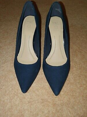 Women's Navy Suede M&S Heels (Size 5.5 UK) Brand New