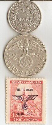 """#-5)-*Two *german SILVER(.900%,.625%)  coins-+WW2 - Stamp + *king """"Tut"""" coin"""