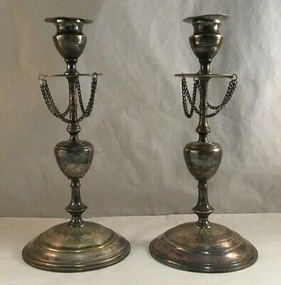 Antique Victorian Pair Of Fancy Silverplated Or Sheffield Plate Candlesticks