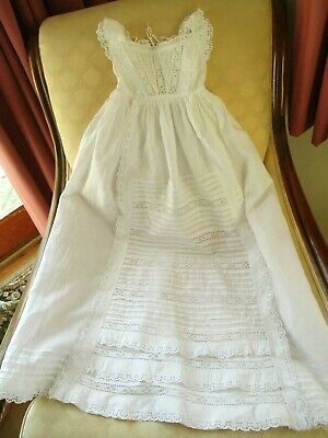 Antique Victorian Hand Made & Hand Embroidered Fine cotton Christening Gown