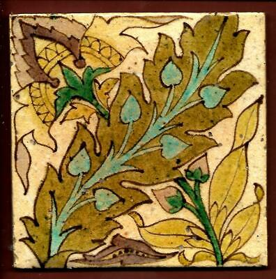 Antique Victorian Art and Crafts Floral Tile C1900