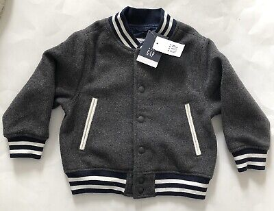 BABY GAP Toddler Boys Gray Wool BOMBER Jacket NEW NWT 2 2T Blue Gift