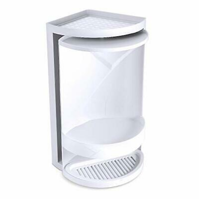Estante Triangular Giratorio, Cuarto de Baño 360° de Doble Capa Rack (Blanco)