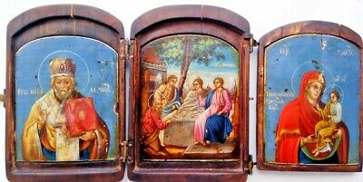 Byzantium Russian Orthodox Triptych Icon 3 hand painted wood panels mid 19th cen
