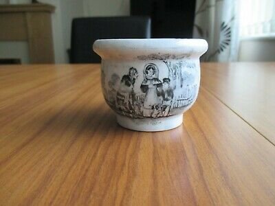 Antique 19Th Century Mug/Cup With Black And White Transfer Print Design