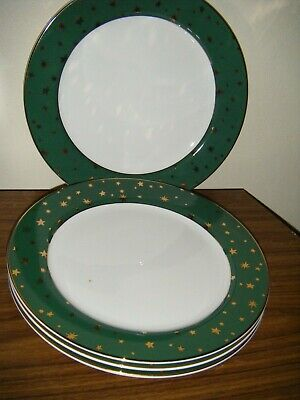 1999 GREEN GALAXY Holiday Dinnerware SAKURA 8XDINNER PLATES w/14Karat Gold Stars