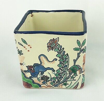 Mexican Vintage Hand Painted Pottery Square Small Planter