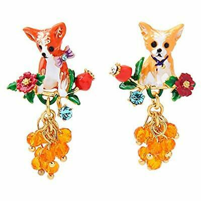 Ladies Exquisite Handmade Enamel Chihuahua Dog, Sterling Silver Studs Women,