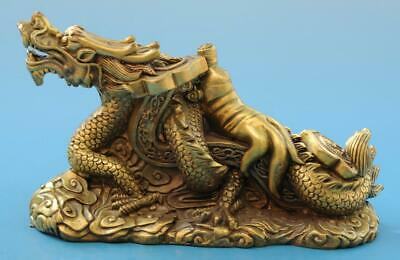 Chinese old fengshui copper hand-carved Ruyi dragon statue e02