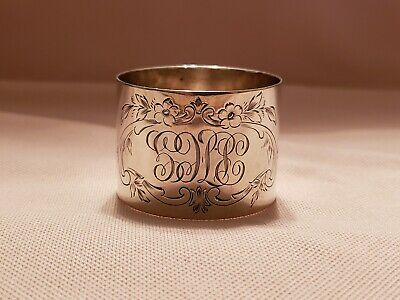 Antique Whiting Manufacturing Company Sterling Silver Napkin Ring With Initials