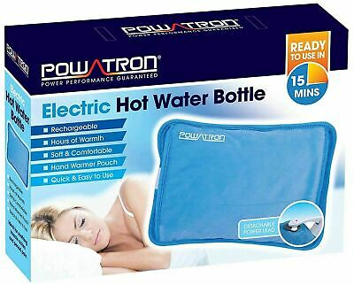 Electric Rechargeable Hot Water Bottle Blue Bed Hand Warmer Massaging Heat Pad