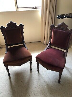 Parlour chairs - 4x Original American Antique. Reupholstered. Burgundy and green