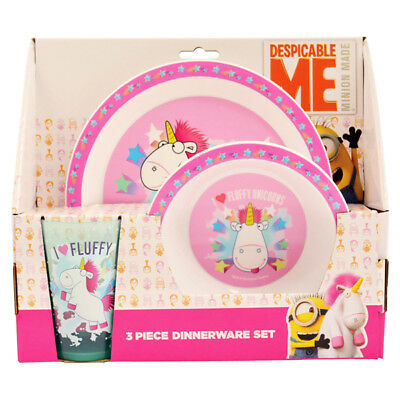 Despicable Me Fluffy Unicorn 3 Piece Childrens Plate Bowl Dinner Cup Set