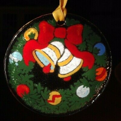 Peggy Karr - Signed | Christmas Wreath Bells | Fused Art Glass Ornament