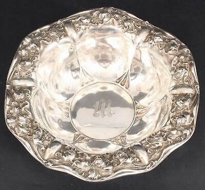Antique Unger Brothers Sterling Silver Floral Repousse Fruit Center Bowl
