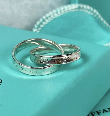 """Size 6.25"""" Tiffany & Co Sterling Silver Rolling Interlocking 1837 Concave Ring"""