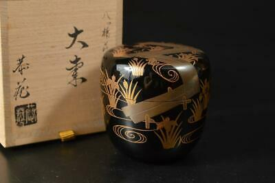 U2990:Japan Wooden Lacquer ware TEA CADDY Natsume Chaire Container w/signed box